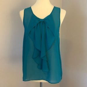 BCX teal bow front blouse